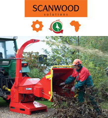 Scanwood logo above a person feeding a tree into a TP Wood chipper